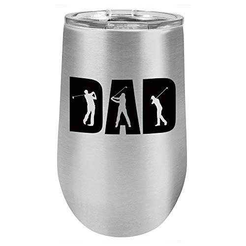 GOLF DAD KNOCKOUT Stainless 16 oz Stemless Wine Glass With...