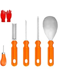YZHI Pumpkin Carving Kit with Protective Gloves Stainless Steel Pumpkin Tools Knifes Gifts Pumpkin Carving Set 7pcs for Adults and Kids (Orange)