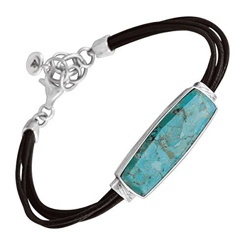 Silpada 'True Colors' Compressed Turquoise Link Bracelet in Genuine Leather and Sterling Silver, 7