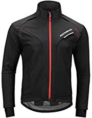 ROCKBROS Winter Cycling Jacket Warm Men's Windproof Thermal Coat Softshell Black Red