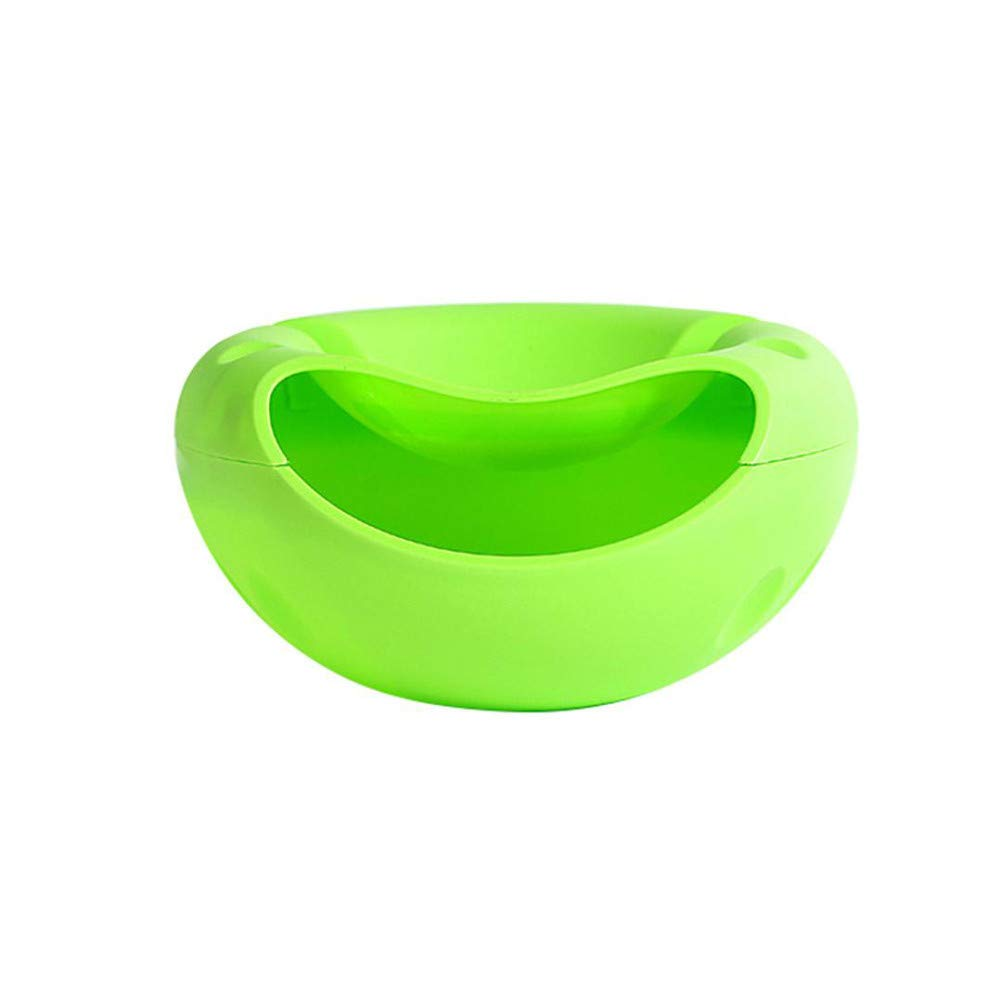 Lotus.flower Stylish Snacks Storage Box - Double Layer Container - Household Plate Dish Organizer - Perfect for Snacks, Fruit, or Pistachio/Sunflower Seeds Storage Box - Bonus Phone Slot (Green)