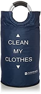 Laundrymate Extra Large Capacity Laundry Bag - With 2 Coin Pocket, Durable Strong Material Foldable Laundry Sack For College, Dorm And Apartment Dwellers Collapsible Laundry Bag (Navy Blue)