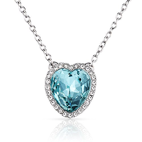 Beyond Love Blue Heart Aquamarine Crystal Pendant Necklace Birthstone Jewelry Valentines Gift for Women and Girl