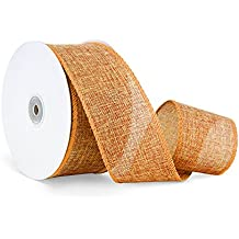 Craft Faux Burlap Jute Wired Ribbon, 2.5 Inches by 25 Yards - Orange