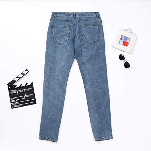 Blau Uomo Da Cher Articoli Stretch Holes Moderna Casual Skinny Sfilacciati Jeans Estivi Pantaloni Fit Popolari Strappati Denim Slim fwTEB1q