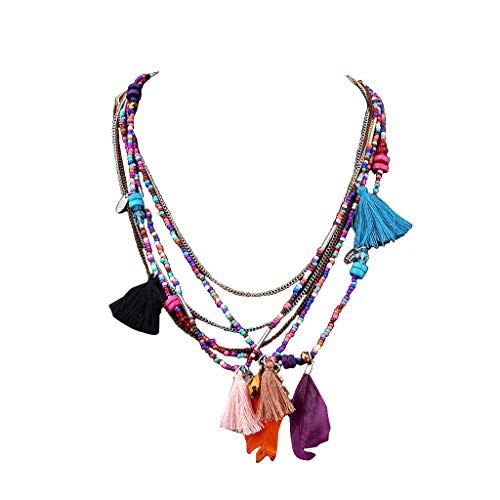 RINKOUa Ethnic Pendant Bohemian Feathers Necklaces Chain Multi-Color African Beads Strand Multi Layers Tribal Bib Tassel Necklace Pendants (Pink)
