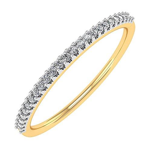 0.07 carat 10k Gold Round Diamond Ladies Anniversary / Wedding stackable Band Ring – IGI Certified