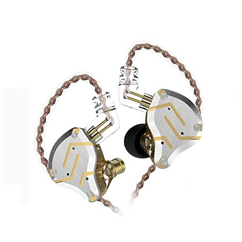 Five Driver Headphones,KZ ZS10 PRO High Fidelity Noise-Isolating Earbuds/Earphones with Detachable Cable 2Pin 0.75mm (Without MIC, Glare Gold)