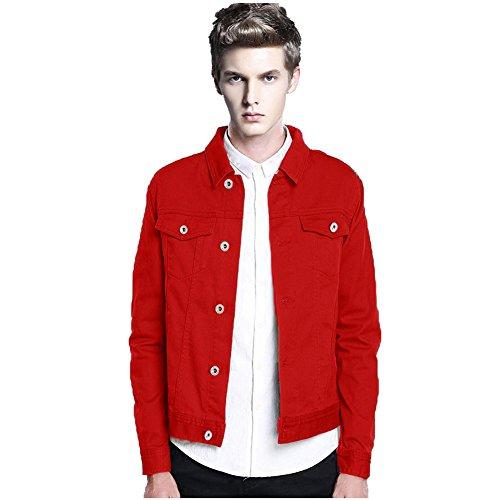 Unlined Jean Jacket - Men's 2017 Rugged Wear Unlined Classical Casual Denim Trucker Jacket (Medium, Red)