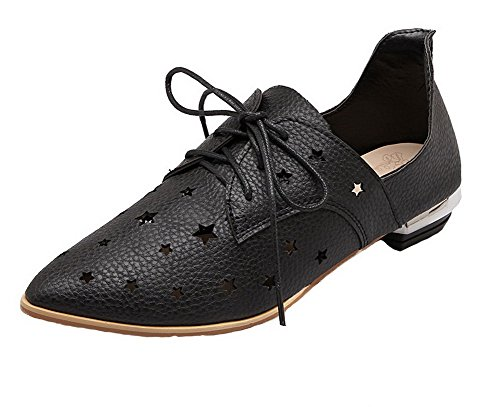 AmoonyFashion Women's Frosted Low-Heels Pointed Toe Solid Lace-Up Pumps-Shoes, Black, - Stores Las Fashion Vegas In Mall