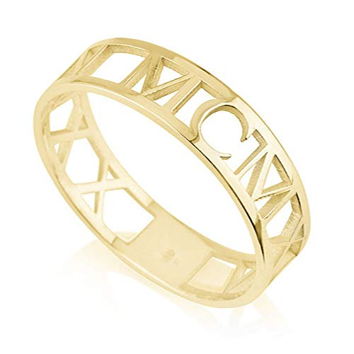 (925 Sterling Silver Roman Numeral Ring Personalized Gift for Women Custom Made with Any Date (Gold))