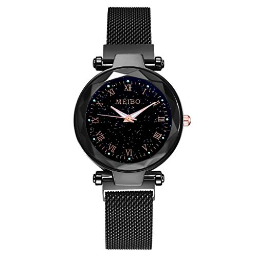 Ciyoon Fashion Female Wrist Watches Beautiful Flat Glass Quartz Mesh with Magnetic Buckle Ladies Watch Starry Sky Dial ()