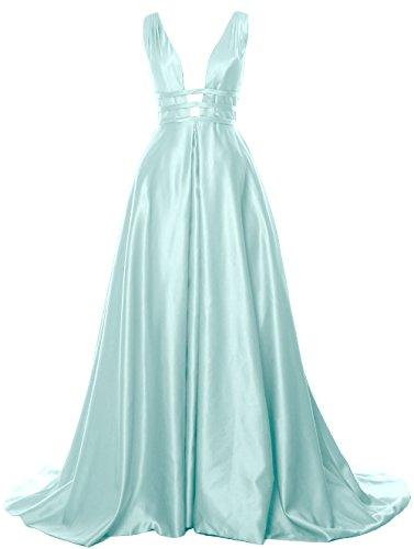 Formal Prom Open Ball Long Satin Dress Deep V Back Aqua Neck Gown Evening MACloth RTwvpqgnT
