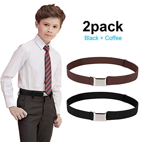 (Kids Toddler Belt Elastic Belt SANSTHS Adjustable Stretch Boys Belts With Silver Square)