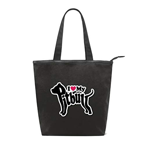 (Women's Canvas Zipper Closure Handbag Pit-bull Lover Tote Bag with Large Capacity)