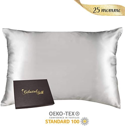 100% Silk Pillowcase for Hair Zippered Luxury 25 Momme Mulberry Silk Charmeuse Silk on Both Sides of Cover -Gift Wrapped- (Standard, Silver)