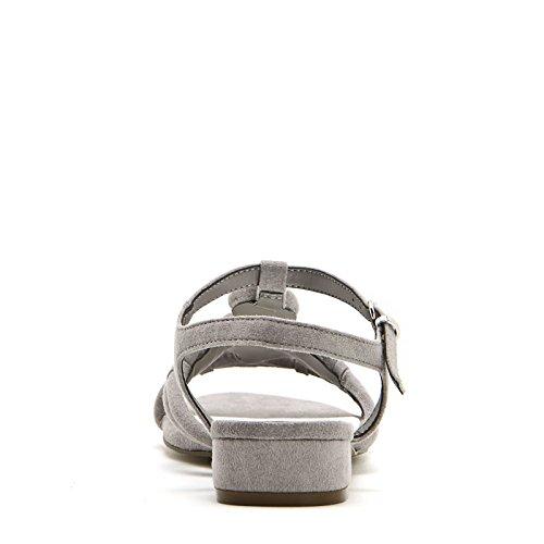 ALESYA by Scarpe&Scarpe - Sandalias bajas con piedras, con Tacones 2 cm Tórtola