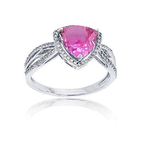 14K White Gold 0.20 CTTW Round Diamond & 8mm Trillion Pink Topaz Split Shank Ring