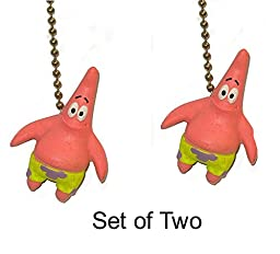 Spongebob square pants sponge bob PATRICK Starfish Ceiling FAN PULL light chain ornament (Patrick - Set of Two)