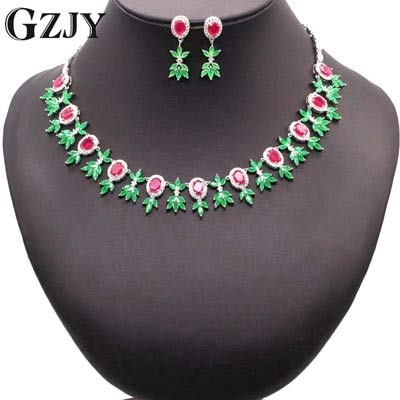 Luxury Jewelry Sets for Bridal | Charm White Gold Flowers Red Greed Jewelry Sets for Women | Wedding Party Gift -