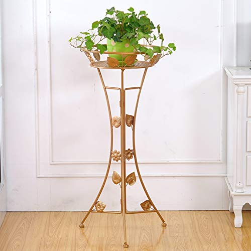 HZB Golden European Style Iron Flower Shelf, Floor Type Indoor Living Room, Single Layer Green Flower Flower Rack. (Size : S3762.5cm) by HZB flower frame