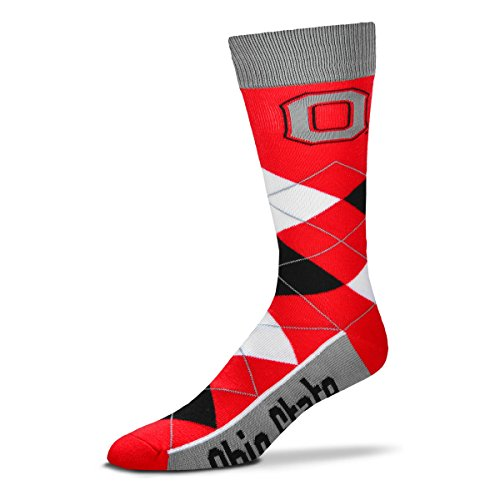 For Bare Feet NCAA Argyle Lineup Socks-Ohio State Buckeyes-One Size Fits Most