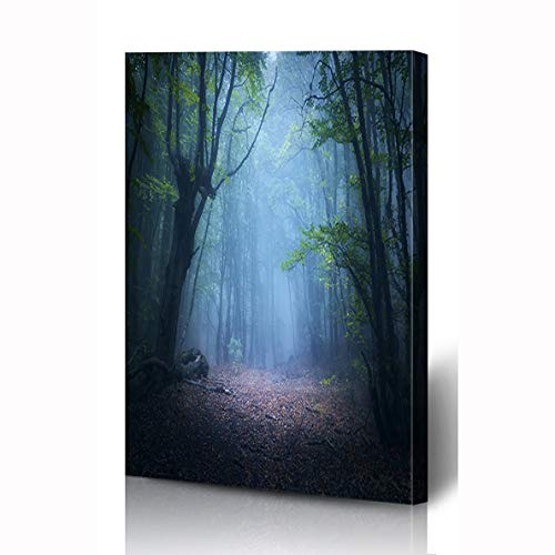 Enchanted Fairies Wall Art - Ahawoso Canvas Prints Wall Art 8x10 Inches Fairy Green Mystic Forest Fog Fall Woods Enchanted Autumn Spooky Nature Parks Magic Dark Scary Horror Wooden Frame Printing Home Living Room Office Bedroom
