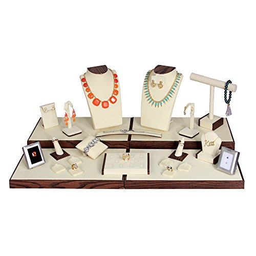 (24-Pc Set) Beige Linen With Wood Grain Pattern Trim Display Set (Set61-N33),29 1/2'' x 16 3/4'' x 10'' H by EDS BOX JEWELRY SUPPLY