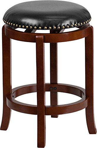 Cherry Counter Height Stool - Flash Furniture 24'' High Backless Light Cherry Wood Counter Height Stool with Black Leather Swivel Seat