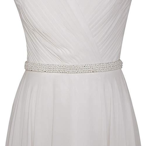 Azaleas Women's Pearl Wedding Belt Sashes Bridal Sash Belt for Wedding (Off-White)