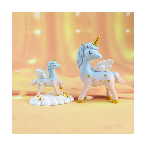 2 Style Unicorn Figurine, Mini Resin Unicorn Cake Topper for Baby Shower Kids Birthday Party Office Desk Decoration Supplies 7