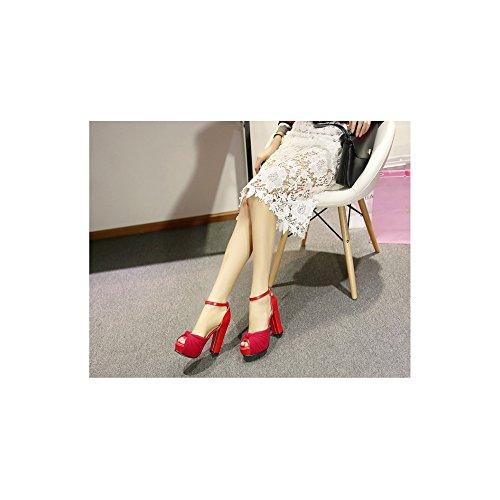 OCHENTA Mujer Zapatos Tacones Estilete de Plataforma Punta Abierta Rojo