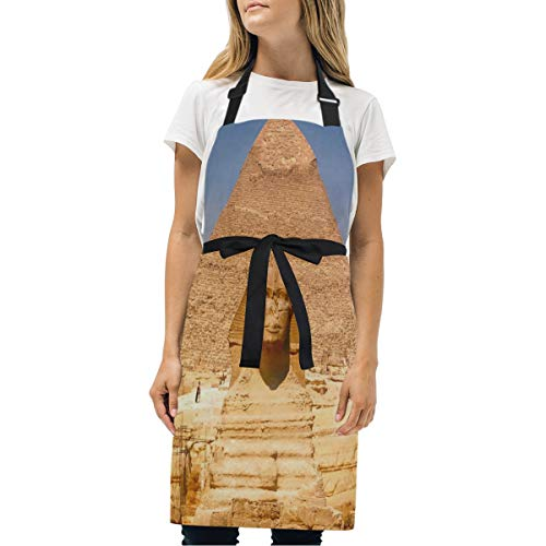 Pyramid Buckle - HJudge Womens Aprons Egyptian Pyramids Kitchen Bib Aprons with Pockets Adjustable Buckle on Neck