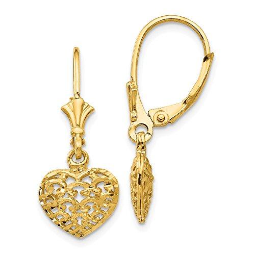 Mia Diamonds 14k Yellow Gold 3-D Diamond-Cut Mini Puffed Heart Leverback Earrings (26mm x 10mm) ()