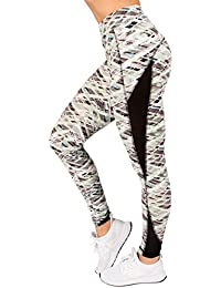 Plus Size Active Womens Elastic-Band Geometric Mesh Insert Yoga Legging by RAG