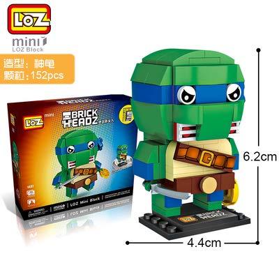 LOZ Ninja Turtle Diamond Mini Building Micro Block Brick Headz Baseplate DIY Figurine Bobble Head Collectible Developmental Toys Model Comics Collection Chistmas Gifts for Kids