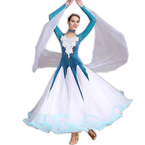 garuda 社交ダンス衣装 豪華ファッションデザイン競技用ドレス 新入荷 5色 B07NJ4SMVC XL|ブルー ブルー XL