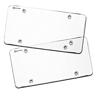 Zento Deals Flat Clear License Plate Cover - 2 Pack of Heavy-Duty All Weather License Plate Shield That Fits All Standard 6x12 Inches License Plate: Automotive
