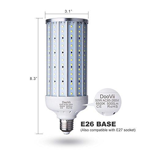 50-Watt-LED-Corn-Lamp5000-Lumen-330-Watt-Equivalent-6500KCool-Daylight-White-LED-Street-and-Area-LightE26E27-Medium-Basefor-Outdoor-Garage-Factory-Warehouse-High-Bay-Barn-BackyardSuper-Bright
