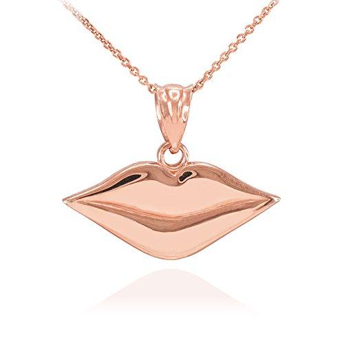 Collier Femme Pendentif Poli 10 ct Or Rose Lèvres Charme (Livré avec une 45cm Chaîne)