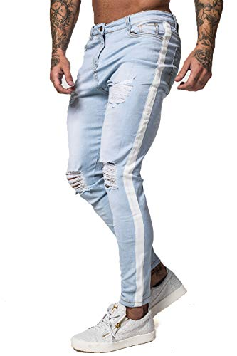 (GINGTTO Men's Ripped Jeans Slim Fit Skinny Stretch Jeans Pants (36, Light Blue Ripped n Ribbon))