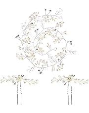 Jxuzh Haarsieraad voor bruid, haarsieraad, zilver, bruidshaarkam, bloemenhaarsieraad, kristal, zilver, bladeren, bruiloft, hoofdband, kristal, bruidssieraad, haaraccessoire met parels, voor bruiloft
