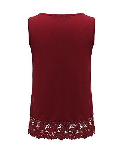 StyleDome Mujer Camiseta Tirantes Blusa sin Mangas Encaje Encaje Elegante Deportiva Oficina Casual Burdeos