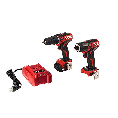 SKIL 2-Tool Kit: PWRCore 12 Brushless 12V 1/2 Inch Cordless Drill Driver and 1/4 Inch Hex Impact Driver, Includes 2.0Ah Lithium Battery and Standard Charger – CB738401
