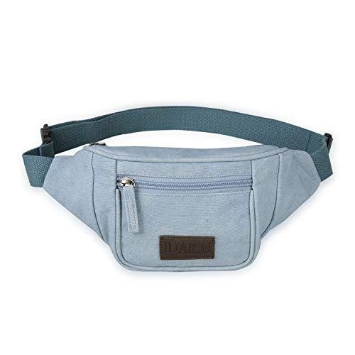 IDAILU Fanny Pack for Women Boho Festival Canvas Fannie Running Belt Waist Bag (Light Blue)