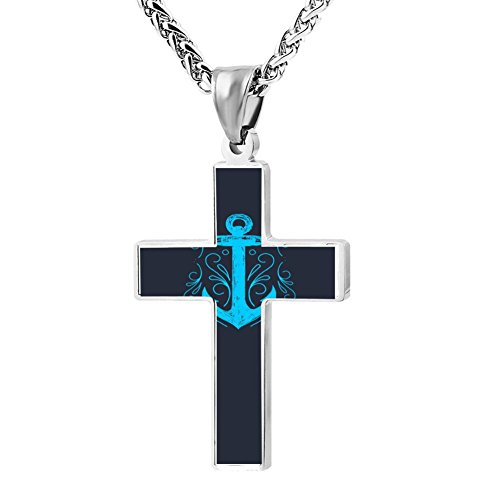 Gjghsj2 Cross Necklace Pendant Ocean Nautical Anchor Religious Jewelry