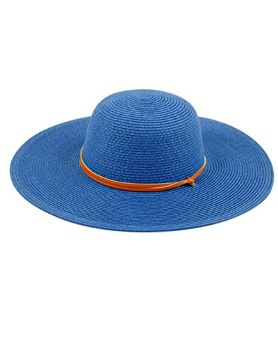 ANGELA & WILLIAM Women's Wide Brim Braided Sun Hat with Wind Lanyard Rated UPF 50+ Sun Protection-FL2403