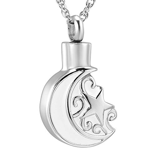 Cremation Necklace for Ashes Pendant Stainless steel Crescent Moon and Star urn Pendant Cremation Memorial Keepsake Ash Holder Ash Jewelry Urn Jewelry (Silver) ()