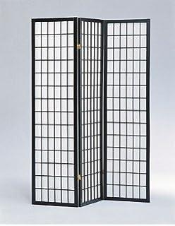 Legacy Decor 3 Panel Shoji Screen Room Divider Black