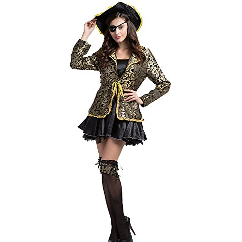 [Fashion Queen Caribbean Pirates Costume Halloween Cosplay Women's Sexy Buccaneer Dress (Large,] (Sea Siren Sexy Costumes)